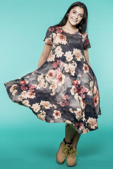 Summer Dream Dress Floral Grey Base