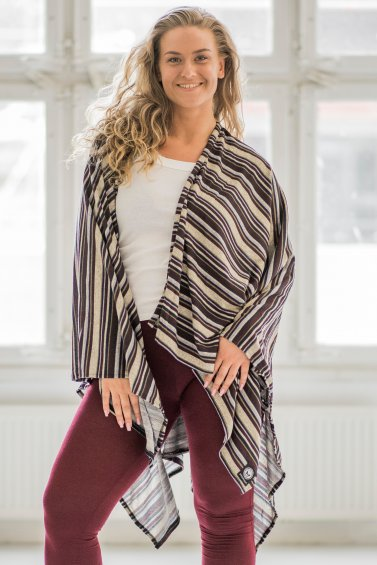 Open Poncho Stripe Embrace Grey Blue