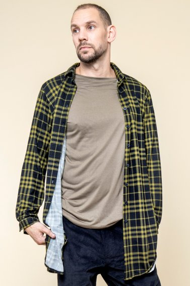 Checkered Shirt Man Black Green