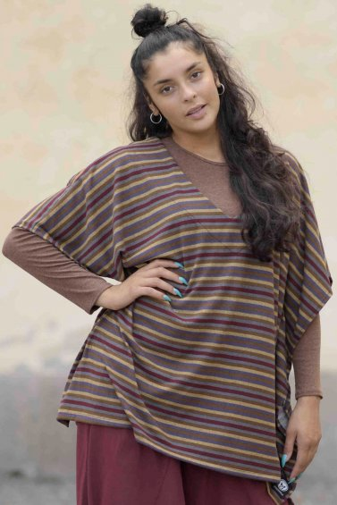 Poncho Cousco Knitted Stripe Birch Brown