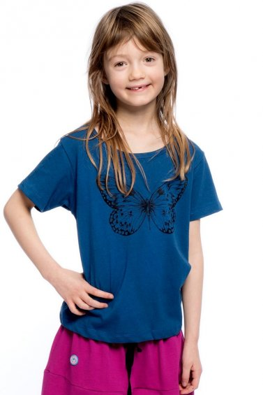 Butterfly Kids T-shirt Eco Blue