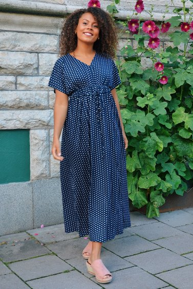 Jill Dot Dress New Navy Base