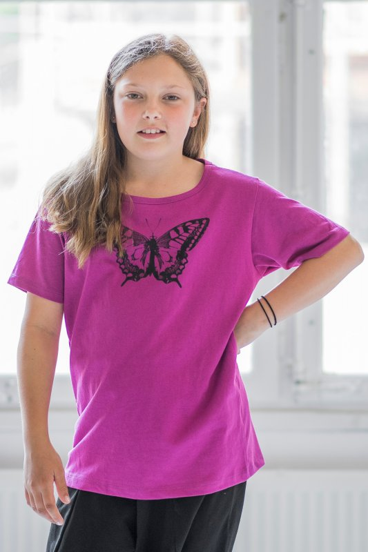 Butterfly Kids T-shirt Eco Magenta