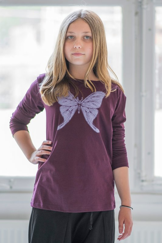 Butterfly Kids Long Sleeve Eco Plum
