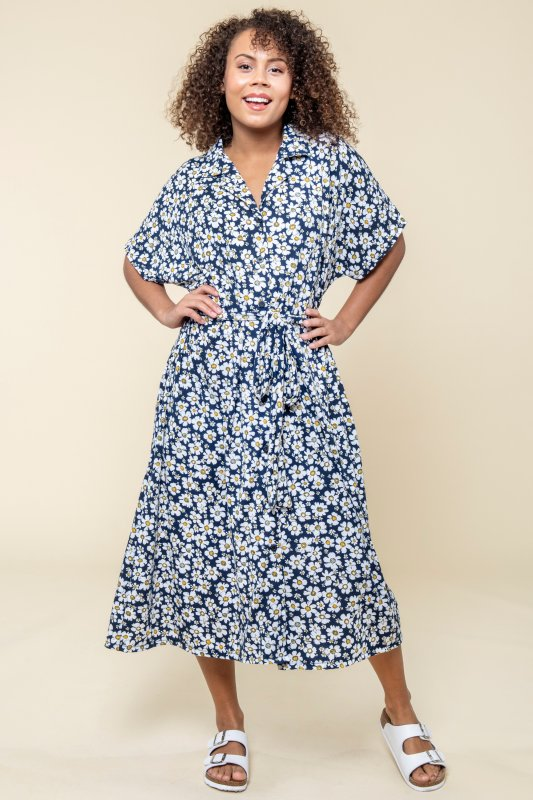 Greta Dress Flower Navy