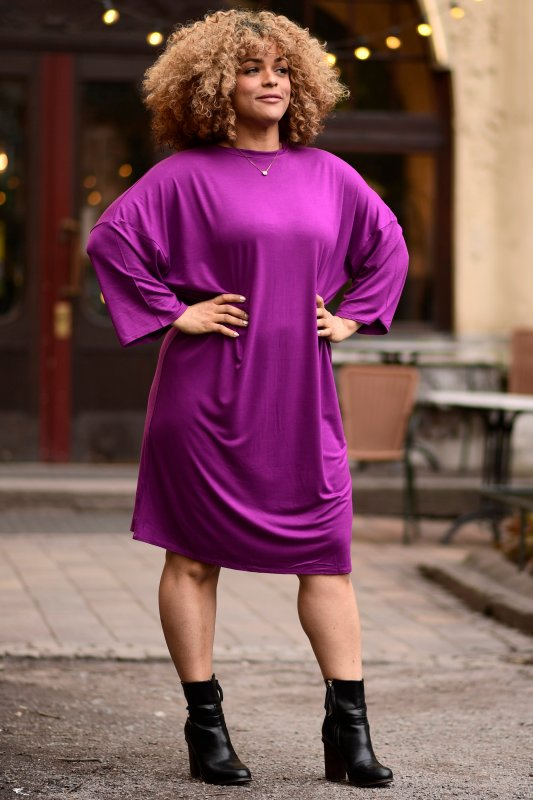 Joanna Dress High Neck Purple