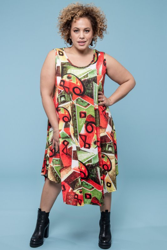 Signe Dress Green & Red