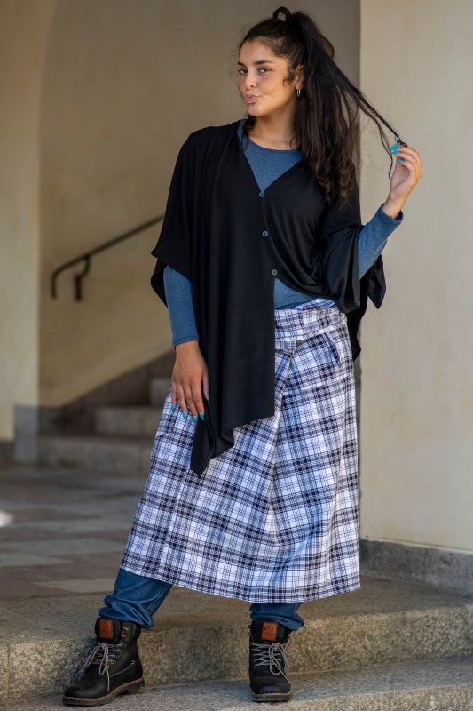 Wrap Skirt Plaid Black White
