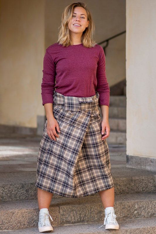 Wrap Skirt Plaid Kaki Black